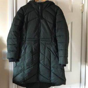 Guess puffer coat green faux fur poly fill